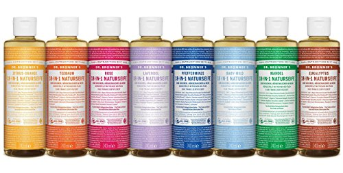 Dr. Bronner ́s Jabón natural de limón naranja 18 en 1 Magic Soap jabón líquido natural de cultivo biológico, vegano, sin aditivos, jabón ecológico certificado de comercio justo