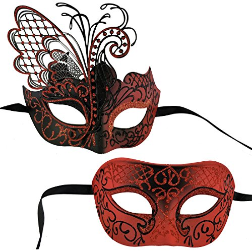 Xvevina Couples Pair Mardi Gras Venetian Masquerade Masks Set Party Costume Accessory (Red Black Couples), Large