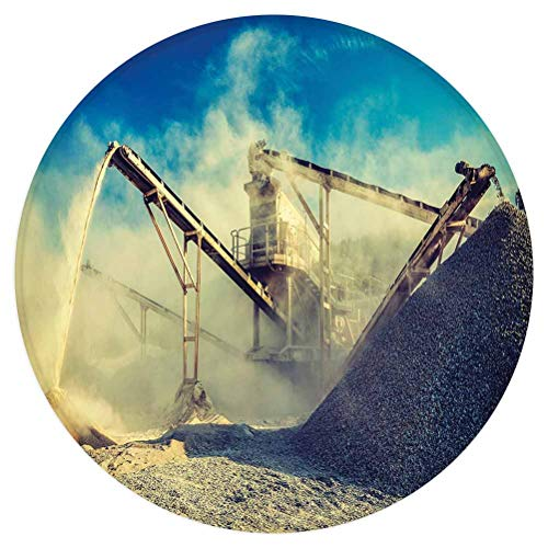 Industrial Decor Round Area Rug,Rock Stone Crushing Machine Open Pit Mining Quarry Sand Dust Decorative,for Living Room Bedroom Dining Room,Round 3'x 3',Blue Light Yellow Black