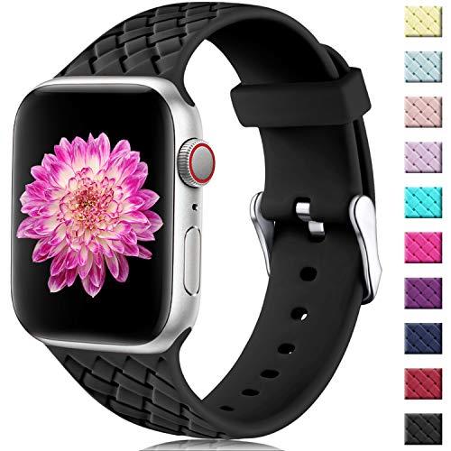 Oielai Cinturino Compatibile con Apple Watch 42mm 44mm, Impermeabile Morbido Silicone Tessere Sostituzione Sportiva Cinturino per Iwatch Serie 5 4 3 2 1, 42mm/44mm S/M Nero