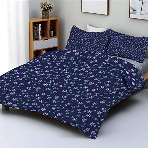 Juego de funda nórdica, flores de margaritas de malla adornadas y enredaderas sobre fondo liso Juego de cama de 3 piezas decorativo para el hogar con 2 fundas de almohada, azul oscuro, verde lila, el