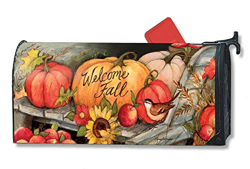 Mailwraps Studio M Welcome Fall Pumpkins Decorative, The Original Magnetic Mailbox Cover, Made in USA, Superior Weather Durability, Standard Size fits 6.5W x 19L Inch Mailbox