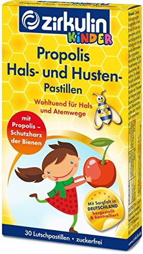 Zirkulin Propolis Hals- und Hustenpastillen für Kinder, für Hals und Atemwege bei Halskratzen und Husten, mit Vitamin C für das Immunsystem und leckerem Kirscharoma (30 Pastillen)