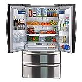 SMETA Counter Depth French Door Refrigerator Bottom Freezer, Fingerprint Resistant, 20.66 cu ft...