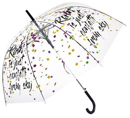 Regen ist Konfetti vom Himmel Durchsichtiger, Transparent Designer Damen Regenschrim