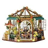 ZHBB Kit de casa de muñecas de madera montado en miniatura con diseño de rosas, para niñas y adultos
