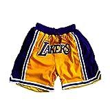 SPORTS Hombre Jersey Lakers Pantalones De Baloncesto James # 23 Pantalones Cortos Deportivos para Hombres Competición De Bordado Amarillo Pantalones Recortados L