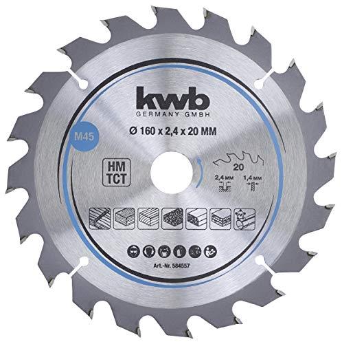 kwb 584557 Span-Platten Kreissäge-Blatt, Holz-/Hartholz, 160 x 20 mm, saubere Schnitte, mittlere Zahl, 20 Zähne Z-20, CleanCut Sägeblatt mittel, 160 x 20