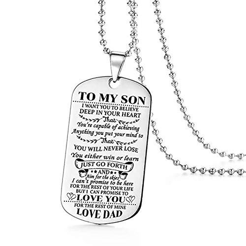 to my Son i want you to Believe Love Dad Dog tag militare Air Force navy Necklace Ball Chain Gift for Best Son Birthday laurea in acciaio INOX