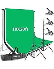 Neewer 2,6 x 3 m achtergrondstatiefondersteuningssysteem met 3 x 6 m achtergrond (wit zwart groen) en draagtas voor fotostudio-portret, productfotografie- en video-opnames