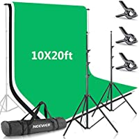 Neewer 8.5x10ft / 2.6x3m Backdrop Stand Support System with 10x6ft / 3x6m Backdrop (White, Black, Green) and Photo-Studio...