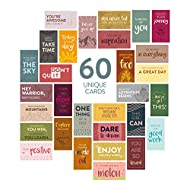 DiverseBee 60 Pack Assorted Motivational Cards - Inspirational and Kindness Mini Note Cards, Gratitude Encouragement Card Set with 60 Unique Motivational Quotes (Business Card Size and Blank Back)