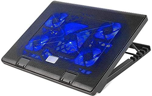 Refrigerador para portátil con 5 ventiladores, 2 puertos USB, ventilador ajustable (12-17 pulgadas)
