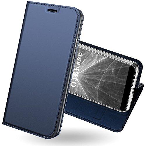 OnePlus 5T Hülle,OJBKase Premium Slim PU leder Handy Schutzhülle [Standfunktion] Hülle / Cover / Brieftasche / Ledertasche Bookstyle Tasche Lederhülle Handyhülle für OnePlus 5T (Blau)