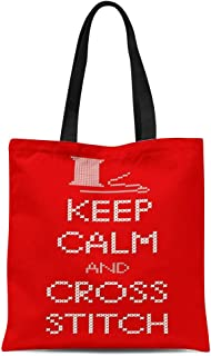 Semtomn Canvas Tote Bag Needle and Thread Keep Calm Cross Stitch Sampler White Durable Reusable Shopping Shoulder Grocery Bag