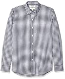 Marca Amazon - Goodthreads - Camisa cómoda de popelín elástico con manga larga, corte entallado, y de cuidado fácil, para hombre, Azul marino (Navy Gingham), US XL (EU XL - XXL)