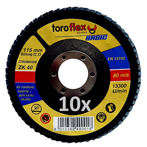 Toroflex BASIC Zirkonkorund Fächerscheibe - F29 konvex - diverse Durchmesser & Körnungen, Körnung:115 mm - ZK 40