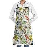 COFEIYISI Delantal de Cocina Lindos animales del bosque,árboles,setas y bayas Delantal Chefs Cocina para Cocinar/Hornear