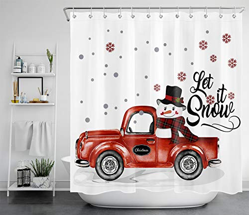 LB Winter Christmas Snowman Shower Curtain Funny Snowman on Red Truck with Xmas Snowflakes Bathroom Curtain on White Backdrop 72x72 Inch Polyester Fabric Bathroom Decor with 12 Hooks