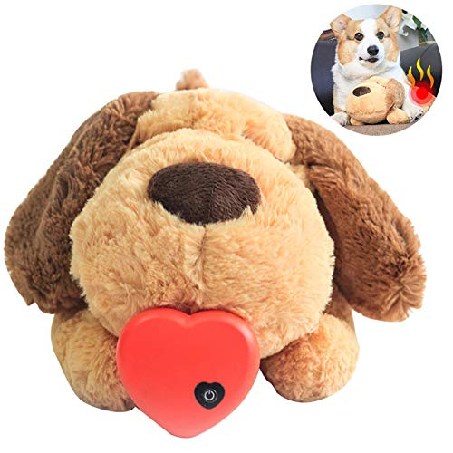 succeedw Pet Heated Plush Toys Heartbeat Toys Ease Anxiety Accompany Sleeping Cats and Dogs Toys