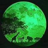 Glow in The Dark Moon Glowing Moonlight Forest Animals Theme 11.8' Luminous Moon...