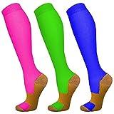 Copper Compression Socks for Women & Men 3 Pairs 20-30 mmHg-Best Graduated Athletic, Running, Flight,Travel,Nurses,Circulation(L/XL)