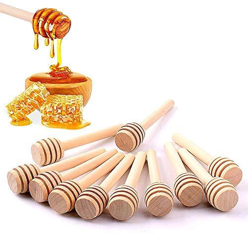 50Pcs/set Bâton de miel Ménage en Bois Portable Mini Confiture Miel Dipper Pot de Dispensing Collecte Tige de remuage Bâton Mino Distribuer la Bruille de Miel (8 cm)