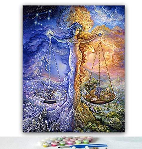 Yqgdss DIY Ölgemälde by Zahlen Waage Konstellation Baum Bild Wandkunst Zeichnung Handgemalte Digitale Färbung Dekor Einzigartige Kits Gedruckt Leinwand Geschenk, Holzrahmen-30x40cm