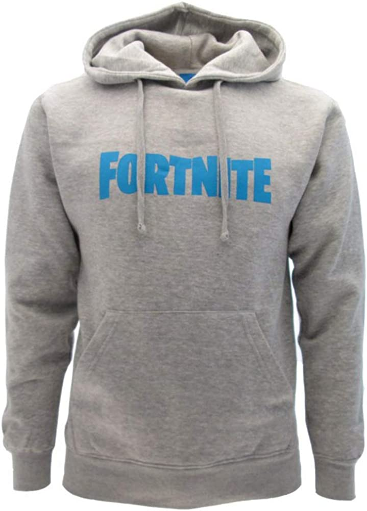Sudadera de Fortnite original gris, con texto azul, logotipo con capucha, para adulto y niño, producto oficial