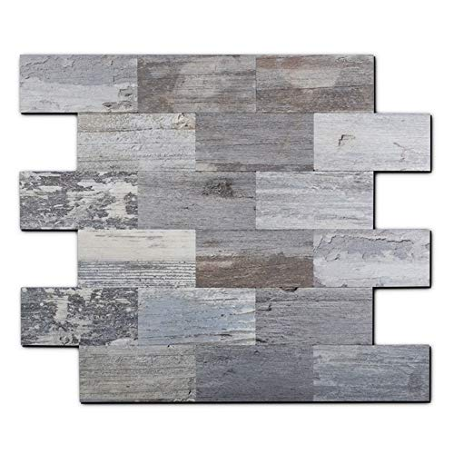 Peel and Stick Backsplash PVC Wall Tile, Stickon Tile for Kitchen Backplash, Bathroom Vanities, Fireplace Décor, Laundry Table, Stair Decals in Light Rustic (11.59' X 11.35', 5 Sheets)