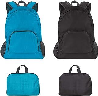 Pack of 2 Lightweight Foldable Backpack, SourceTon Water Resistant Travel HikingPackable Backpack 20 Liters (Black & Blue...