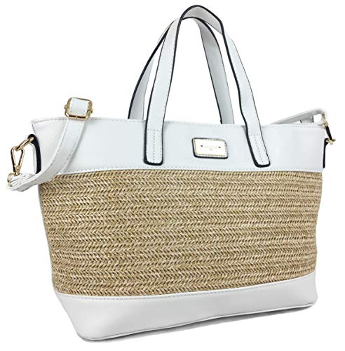 Handbags for Women Vegan Leather & STRAW Ladies Tote bag/Shopper Great Summer Bag with Complimenting Trim & Detachable Shoulder Strap. (White Straw)