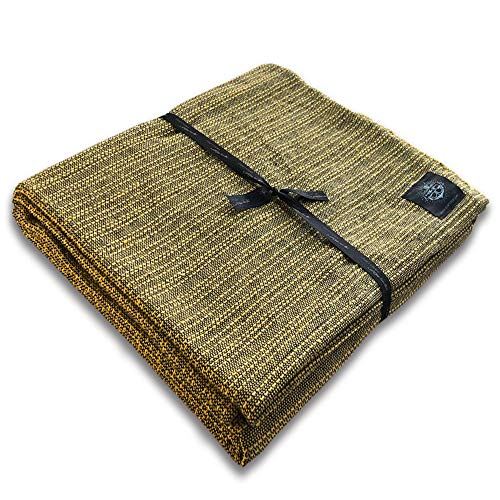 """Craft Story Decke """"Yara"""" I Uni gelb aus 100% Baumwolle I Tagesdecke I Sofa-Decke I Überwurf I Bedspread I Plaid I Picknickdecke I Läufer I 170 x 220cm"""