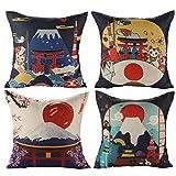 jotom fodera per cuscino giapponese mt. fuji ukiyo-e in cotone e lino federa per divano famiglia soggiorno camera da letto decorazione, 45x45cm, set di 4 pezzi(stile giapponese a)