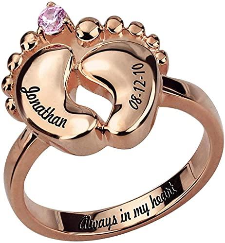 Anillo de pie de bebé tallado Scott Naismith de plata de ley 925 con joyas de piedra de nacimiento, adecuado para el anillo de madre primeriza Plata de ley 925 8 Oro rosa