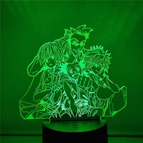 Lámpara De Ilusión 3D Luz De Noche Led Hunter X Hunter Luz De Noche 3D Gon Freecss Killua Anime Dormitorio Lámpara De Noche Decoración Visual