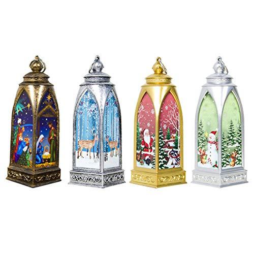 OSALADI 4pcs vintage noël lanterne noël nuit lumière rétro lanterne lampe noël cerf père noël bonhomme de neige décoration de la nativité