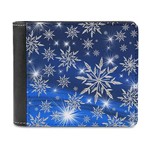 Bhqcflkwpz Azul Copo De Nieve Bifold Billetera Imprimir Cuero Monedero Invierno Dinero Organizadores Para Hombres Mujeres, blanco, Taille unique