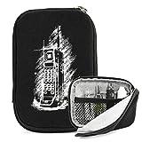 Kroo Portable Thin Vape Case Suitable for O Pen e-cig Vape G Pen eGo Atmos Oil Herbal Wax Vaporizer Sticky MT3 |Ice Black Retro Brick Cellphone Print| + Removable Hand Strap