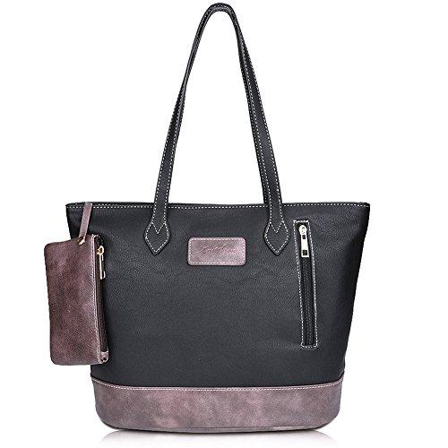 ZMSnow Designer PU Leather Tote Handbag Shoulder Mix Color Bag for Women Girl Work School(ZMS-NB-105,Black)