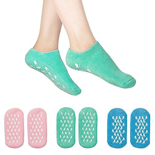 Madholly 3 Pairs Moisturizing Gel Socks, Soft Spa Gel Socks for Repairing Dry Cracked Skins