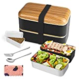 Stackable Bento Lunch Box Containers, MOSFiATA All-in-One Stainless Steel Bento Box-Durable Leak - Meal Prep Japanese Bento Boxes with Spoon & Fork, Adult Lunch Box Containers for Men Women Kids