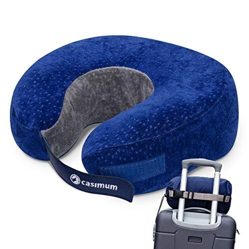 Reisekissen für Flugzeug und Auto, Nackenhörnchen aus Memoryschaum - Ergonomisches Reise Nackenkissen zum Schlafen. Klettverschluss, Bezug waschbar