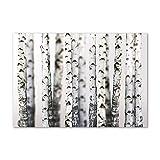 Tulup Impresión en Vidrio - 100x70cm - Cuadro Pintura en Vidrio - Cuadro en Vidrio Cristal Impresiones - Flores y Plantas - Blanco, Blanca - Troncos de Abedul