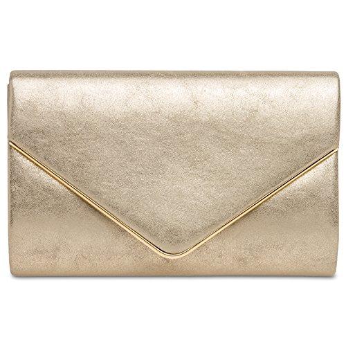 CASPAR TA349 Damen elegante Envelope Clutch Tasche Abendtasche mit langer Kette, Farbe:gold, Größe:One Size