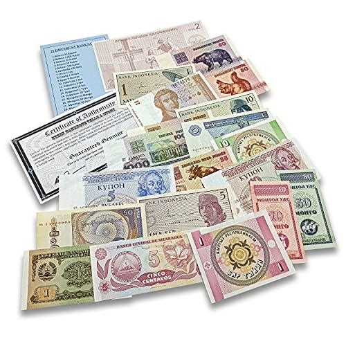 IMPACTO COLECCIONABLES 25 Geldscheine aus Aller Welt - Banknoten Weltwährungs Sammlung - Altes Geld mit Echtheitszertifikat - Geld Scheine für Sammler & wissbegierige Kinder - Geldschein Kollektion