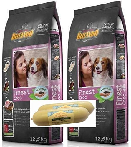 Belcando Finest Croc 2 x 12,5kg Hundefutter Trockenfutter + 2 x 400g Fleischwurst gratis dazu