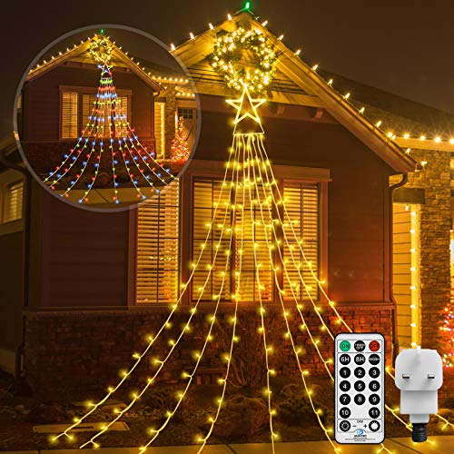 CORST Outdoor Light Mains Powered Outside Star Light Plug In 335 LED Christmas Tree Light11 Lighting Warm White & Multi-Color changingFairy String Lightfor Indoor Garden Xmas Yard Decor