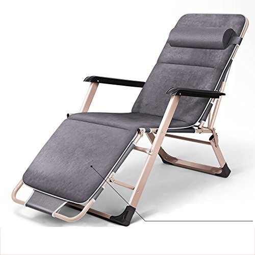 LHA Lit Pliant Inclinable Pliant Déjeuner Lit Siesta Chaise Bureau Lit Simple Simple Plage Lit Camp Lit (Couleur : Gray)