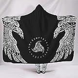 KASTLEE Viking Raven Knot Huginn and Muninn Horn of Odin Runes Hooded Blankets Throw Cloak Cape Mystical Fleece Blanket with Hood White 60x80 inch
